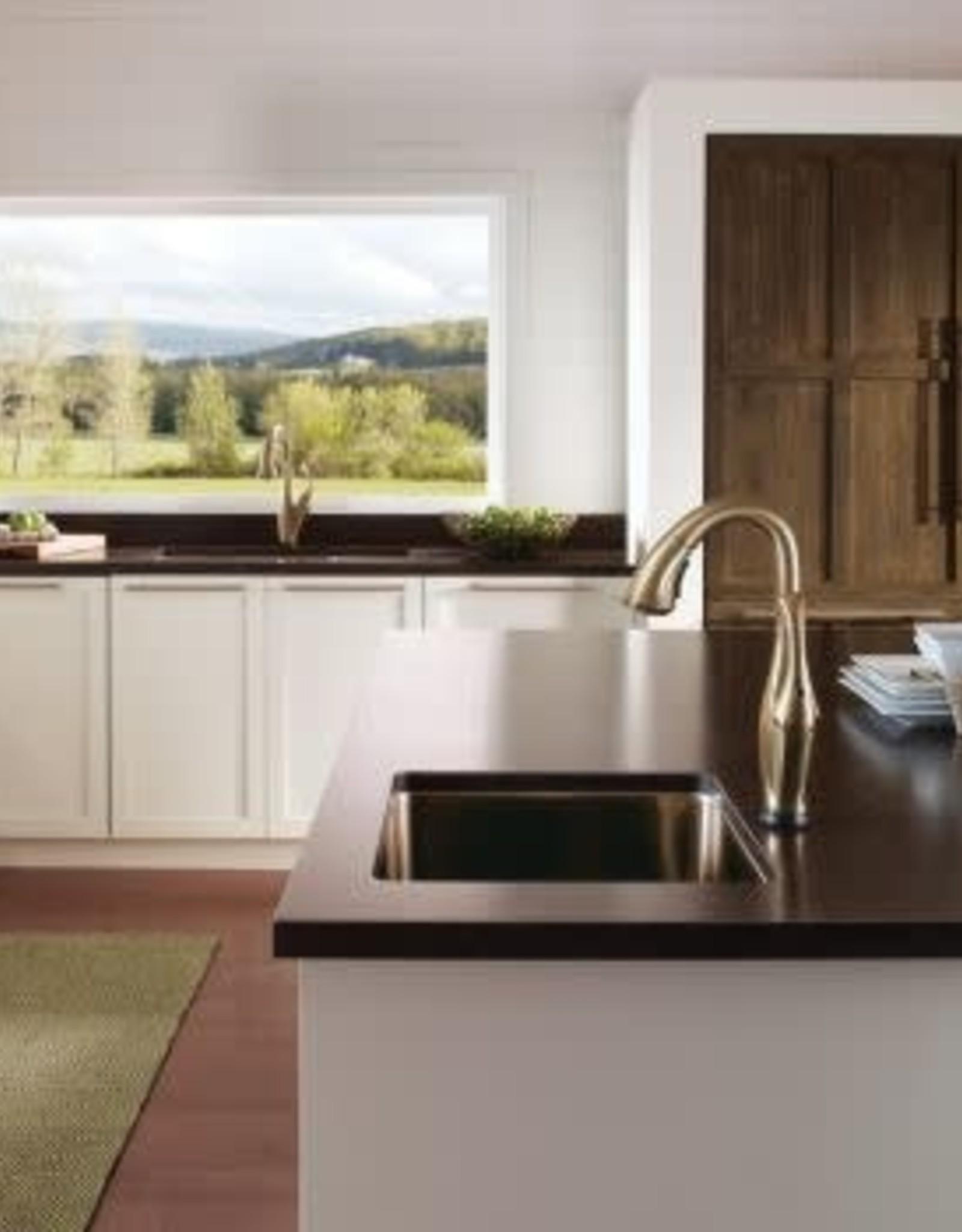 delta delta addison kitchen faucet w touch champagne bronze