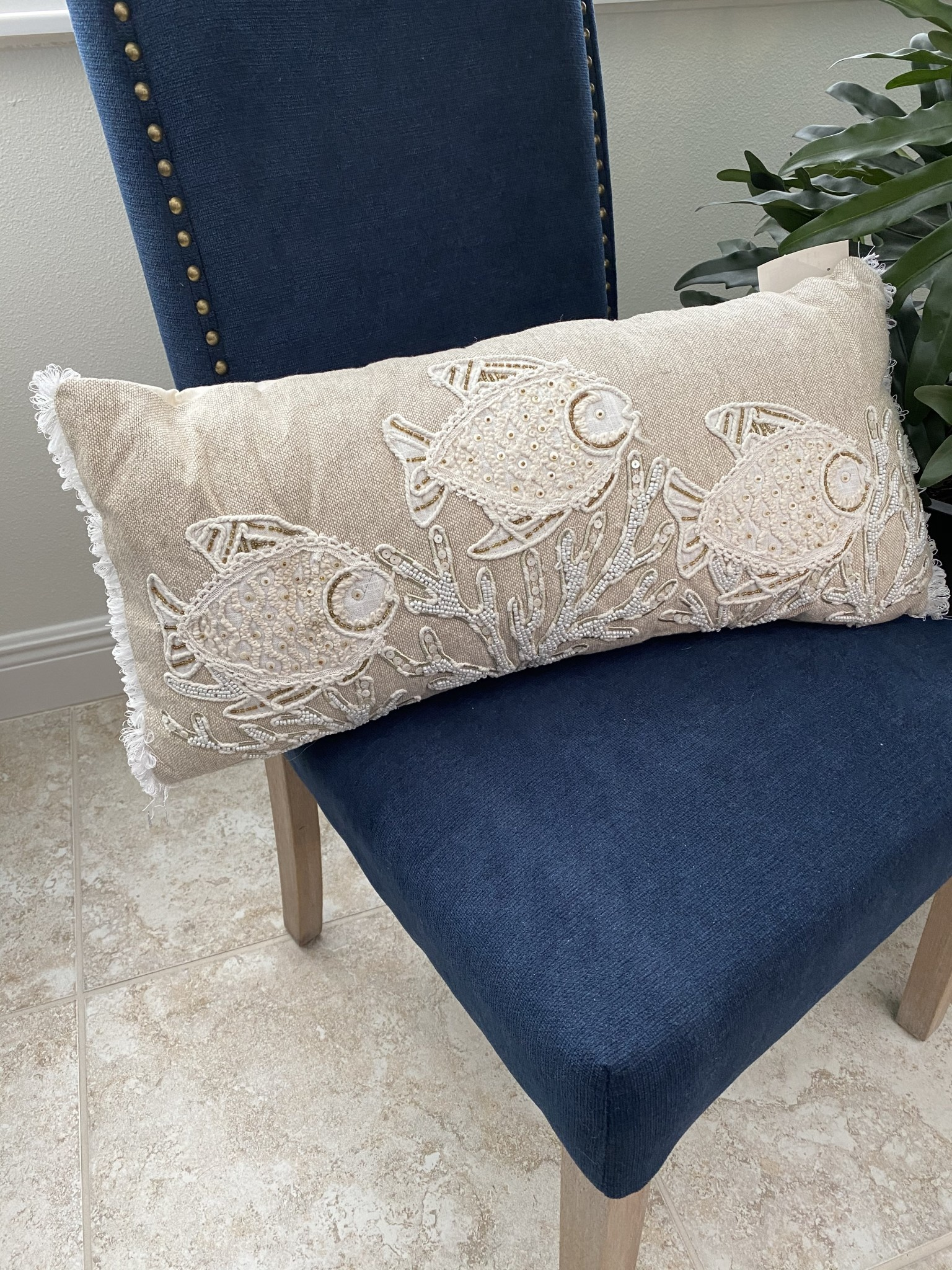 24 x 12 coral and fish beaded linen euro pillow