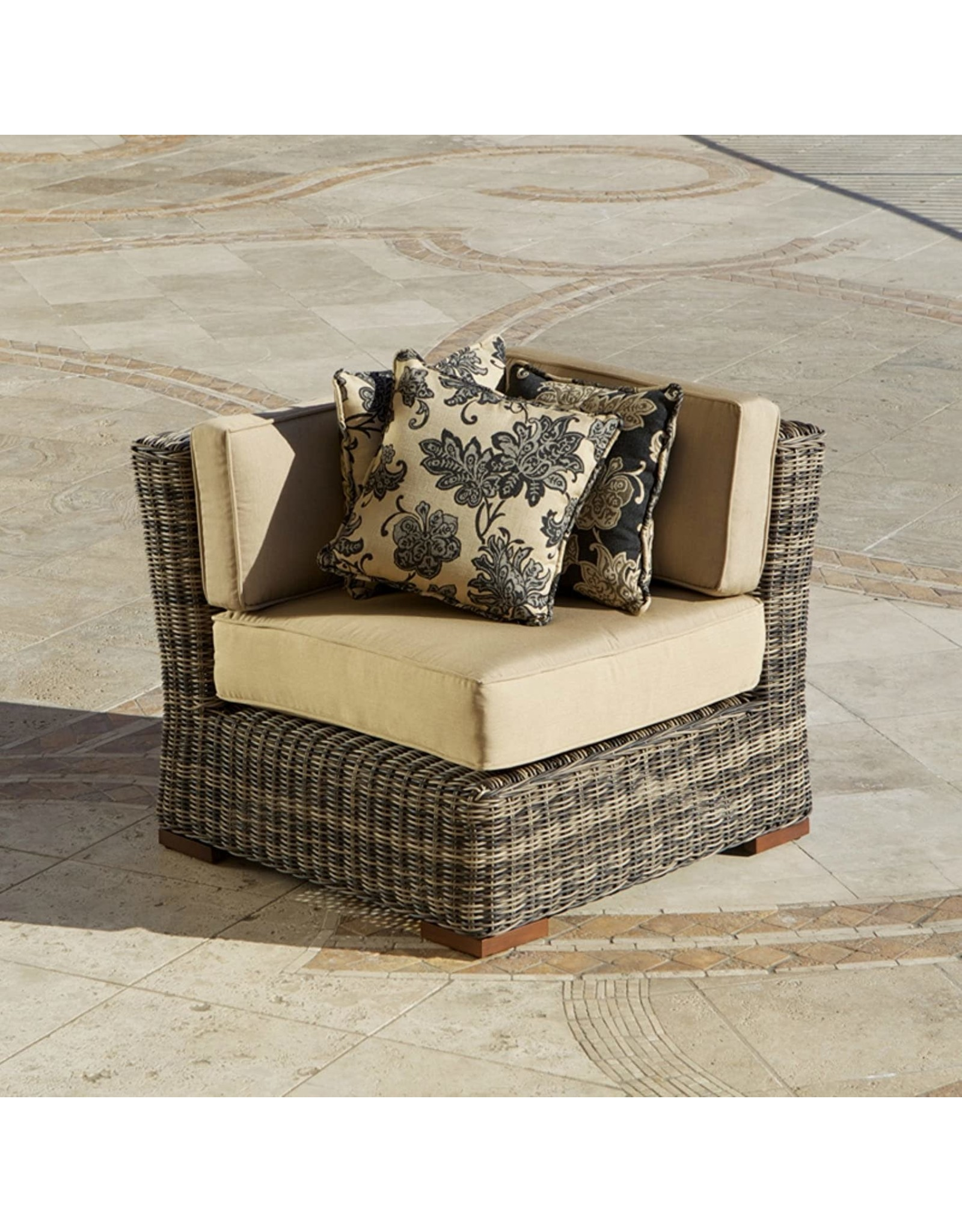rst outdoor rst brands op pe36c lnk wg resort collection 36 inch corner section rattan patio furniture weathered gray