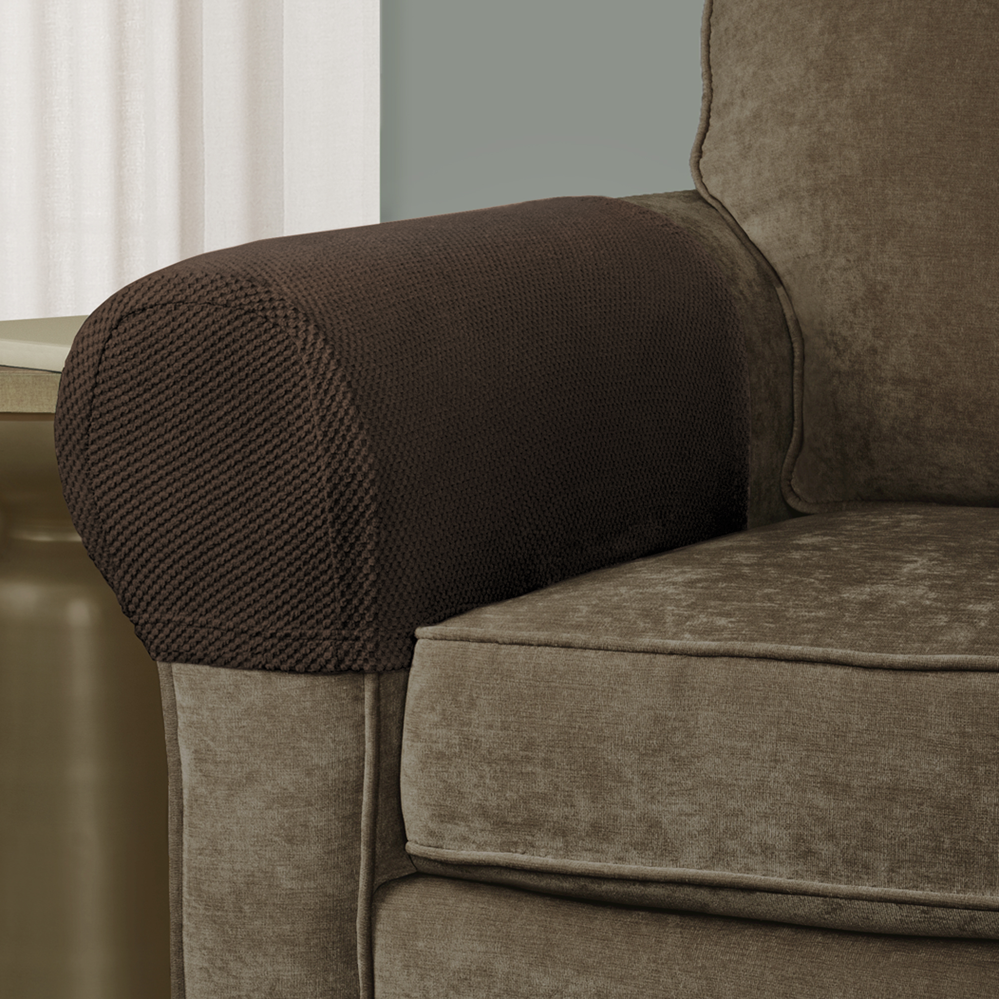 mainstays pixel stretch 2 piece furniture arm covers slipcovers ebay