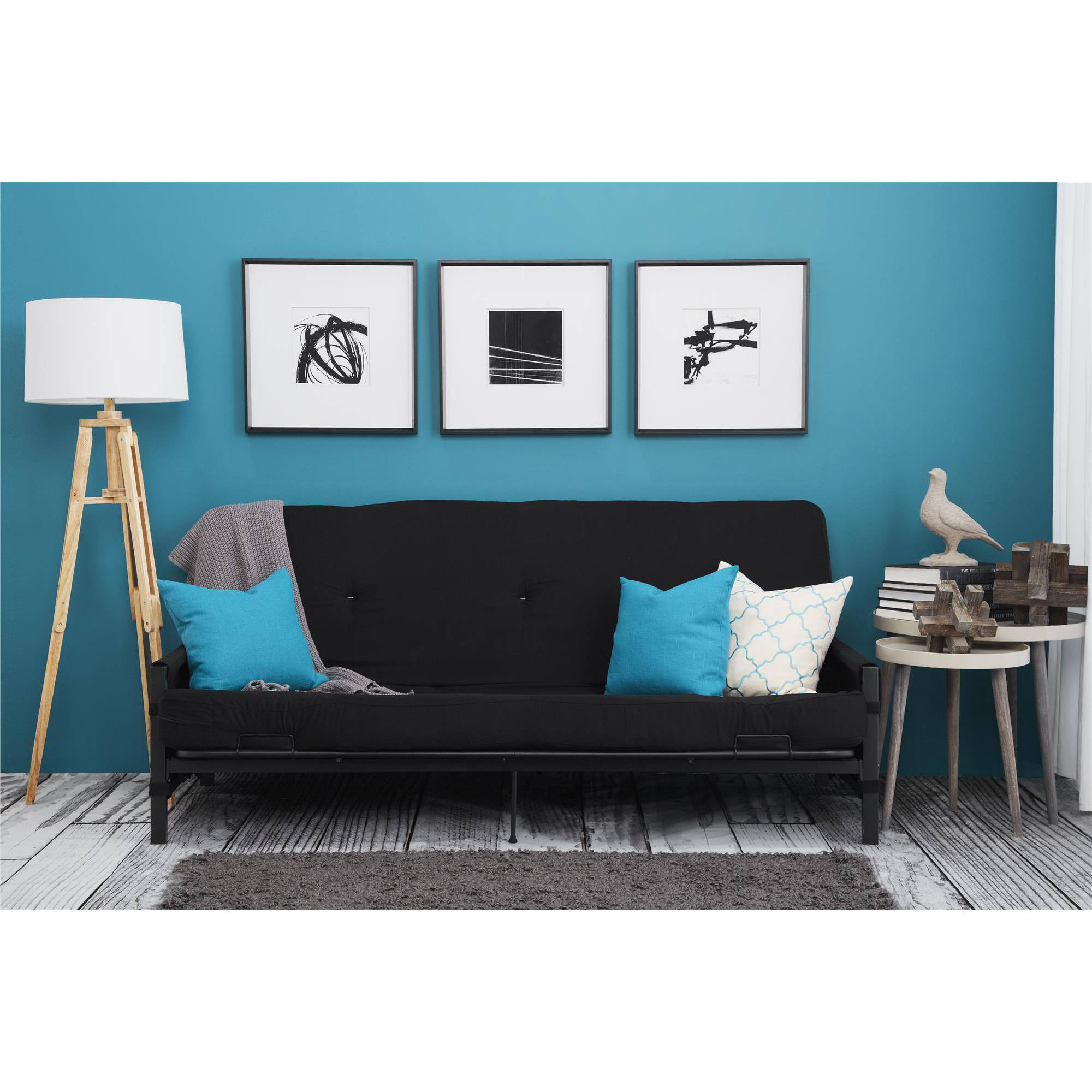 Details About Full Size Futon W 6 Mattress Frame Black Storage Arm Convertible Couch Guest