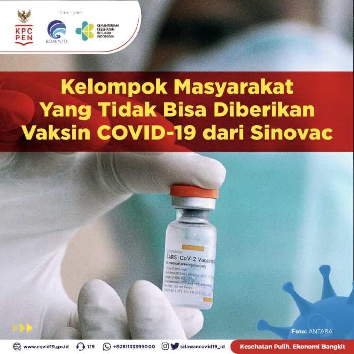 Inilah Kelompok Masyarakat Yang Tidak Bisa Diberikan Vaksin Covid 19 Sinovac