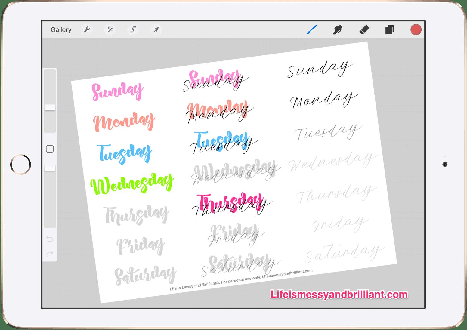 Free Days Of The Week Lettering Bullet Journal Printable