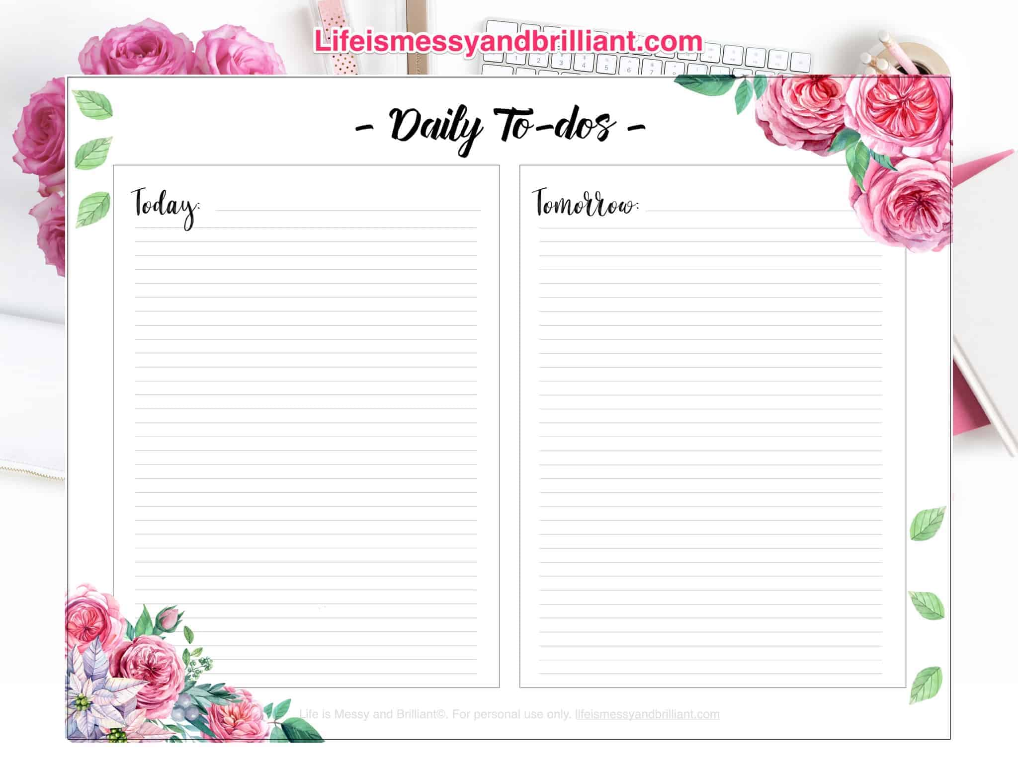 Free Daily To Dos Bullet Journal Printable