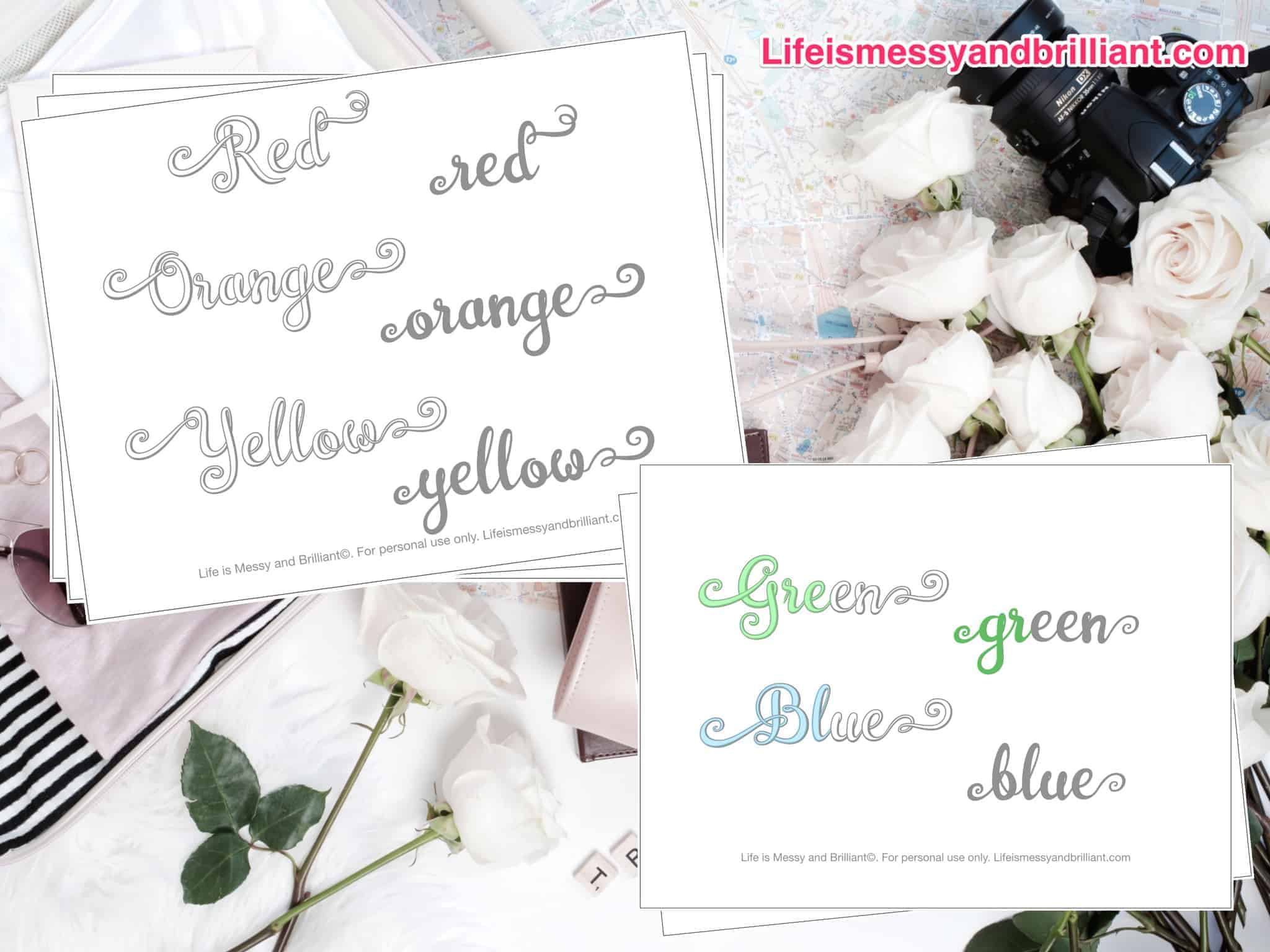 Free Colors Of The Rainbow Lettering Printable