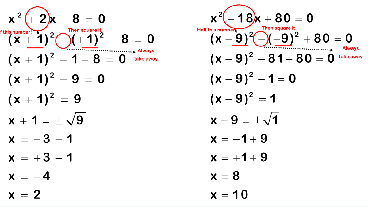 Completing The Square Worksheet Practice Questions