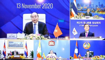 Vietnamese Prime Minister Nguyen Xuan Phuc during the ASEAN conference in Hanoi, Vietnam on 13 November 2020 (Photo: Latam News Agency via Reuters).