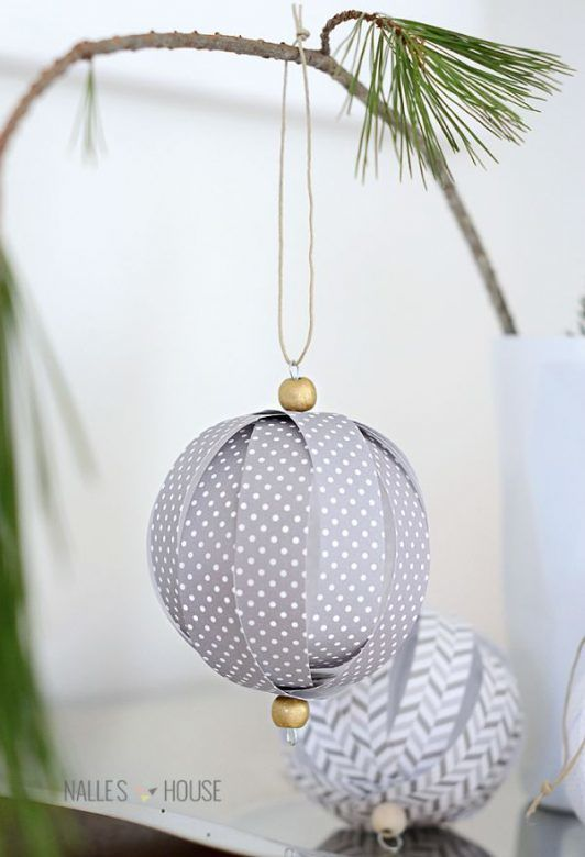 Homemade Christmas decorations ... paper Christmas baubles