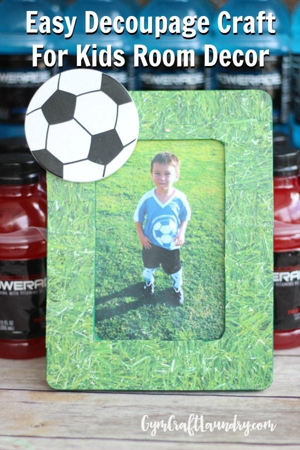 Easy Decoupage Craft Idea For Kids Soccer Memory Frame Gym Craft Laundry
