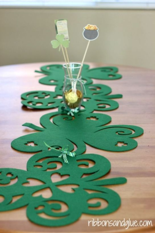 St Patricks Day Decor Ideas - No- Sew Shamrock Table Runner - DIY St. Patrick's Day Party Decorations and Home Decor Crafts - Projects for Walls, Hanging Banners, Wreaths, Tabletop Centerpieces and Party Favors - Green Shamrocks, Leprechauns and Cute and Easy Do It Yourself Decor For Parties - Cheap Dollar Store Ideas for Those On A Budget http://diyjoy.com/diy-st-patricks-day-decor