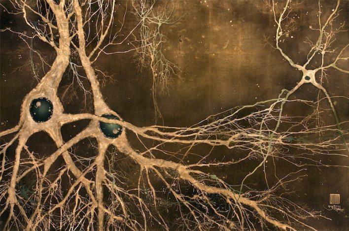 الصورة: فنان علم الأعصاب للفنان الدكتور غريغ دان ، ماكي ، الخلايا العصبية.  الخلايا العصبية في ورقة الذهب