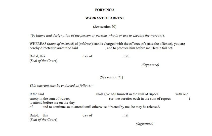 Summons And Warrants Criminal Procedure Indiafilings