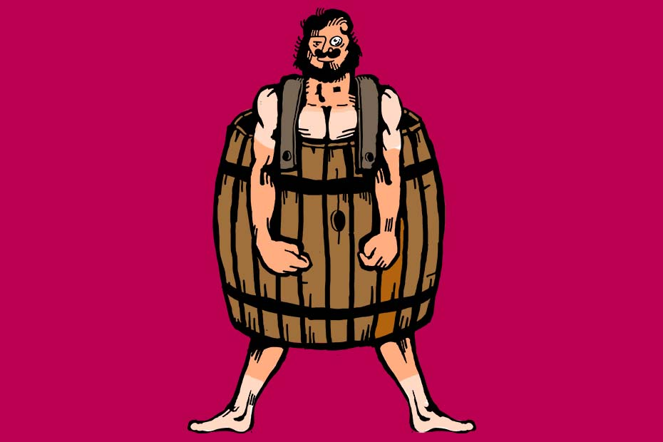 Illustration of a man wearing a whisky barrel