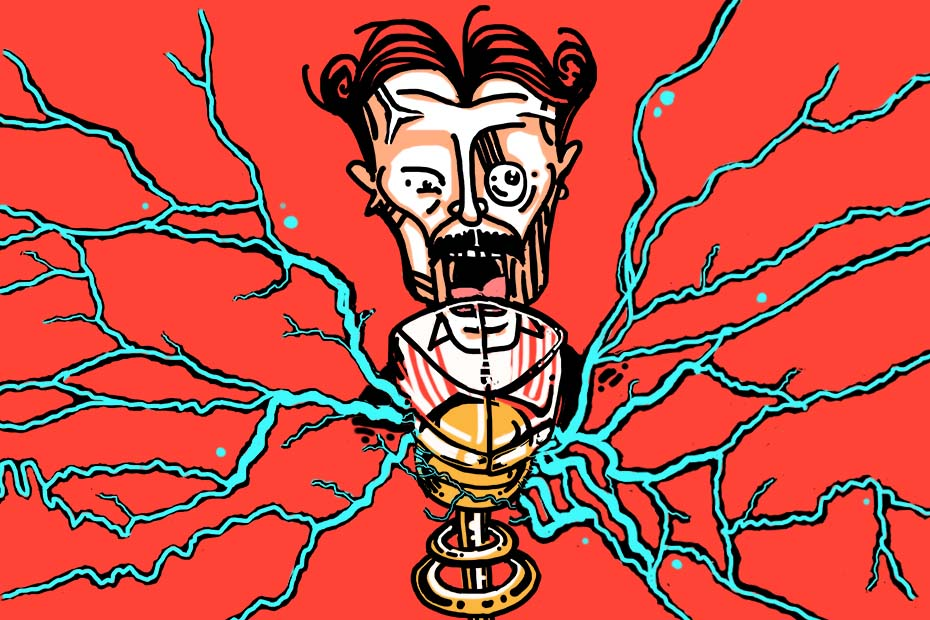 Illustration of Nikola Tesla with a glass of whisky