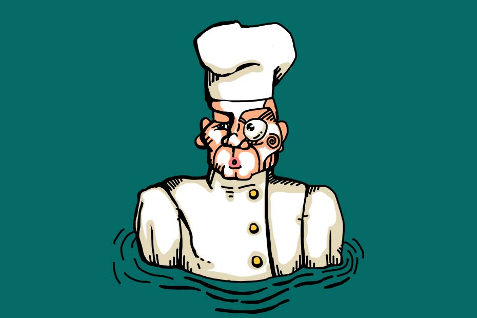Illustration of a chef up to his chest in water