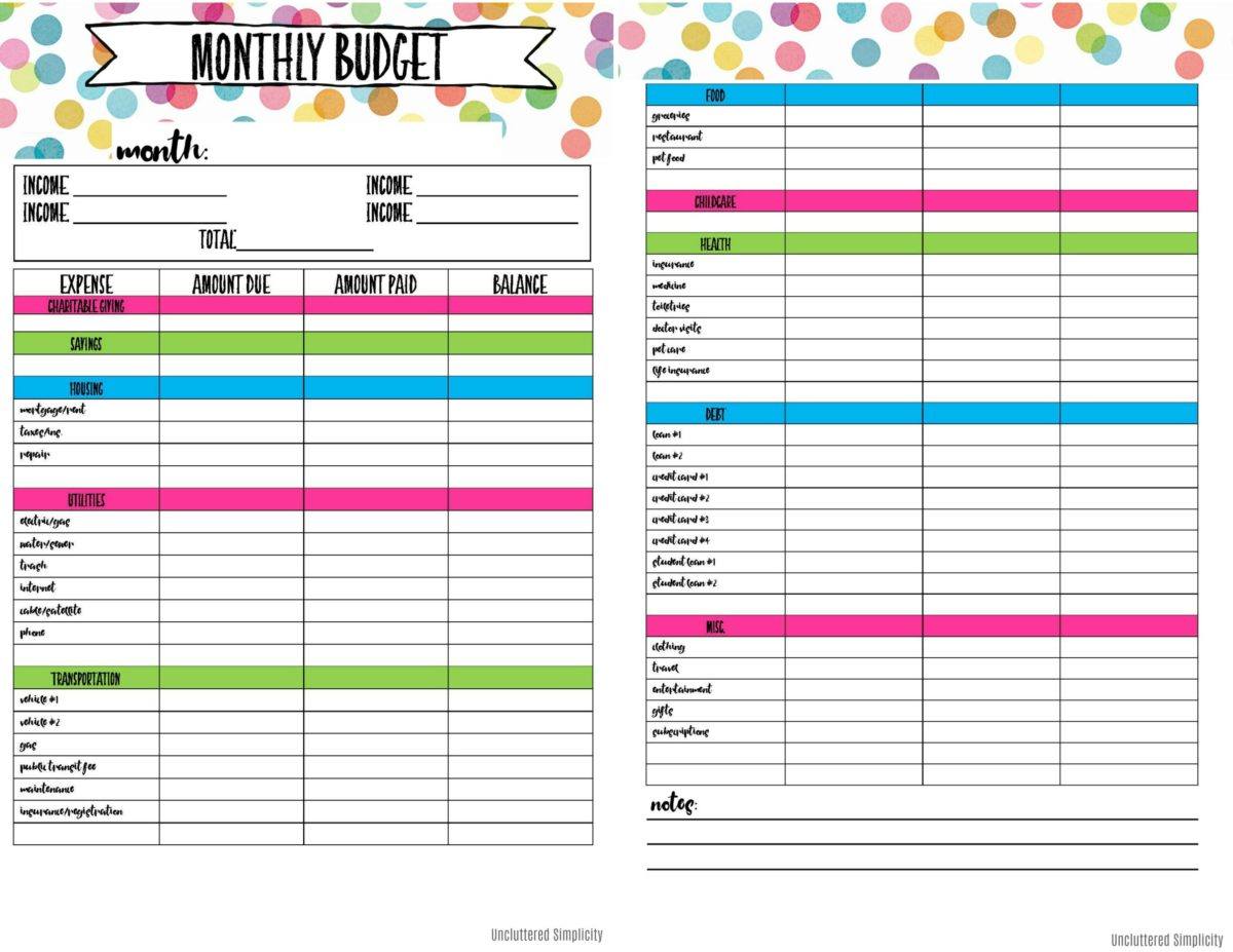 Free Printable Budget Planning Worksheets