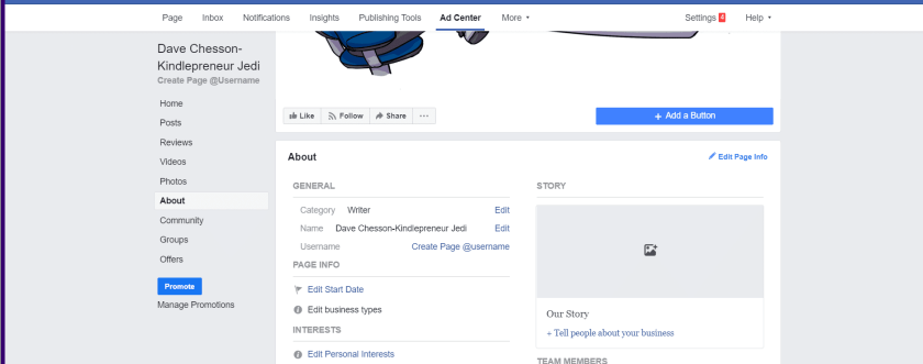 customize your author page on facebook