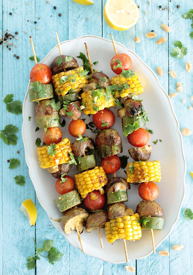 Peanut & Cilantro Grilled Veggie Skewers