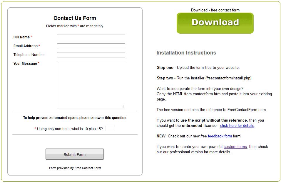 Construtor de Formulário de Contato de Formulário de Contato Grátis