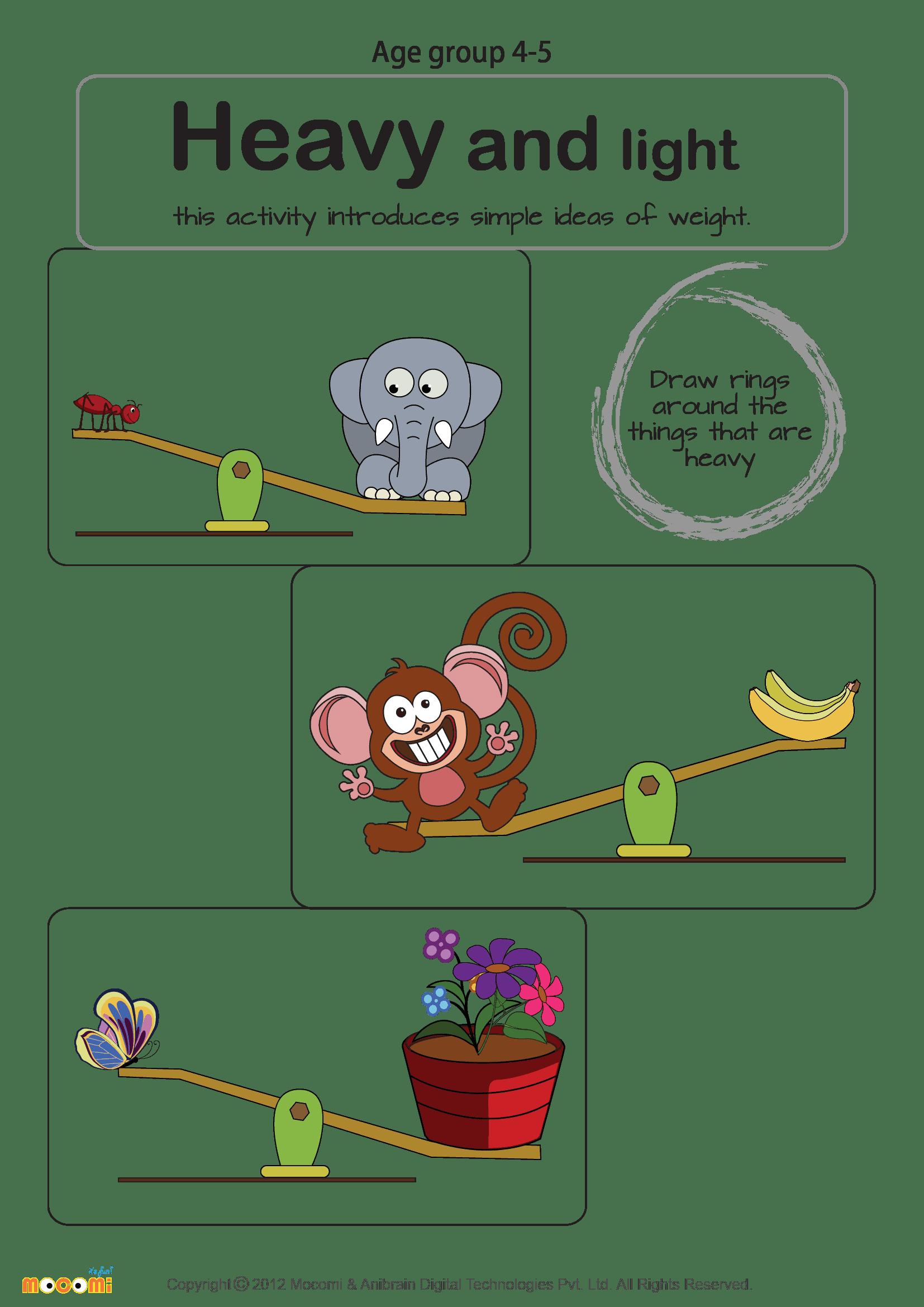 Heavy And Light Worksheet