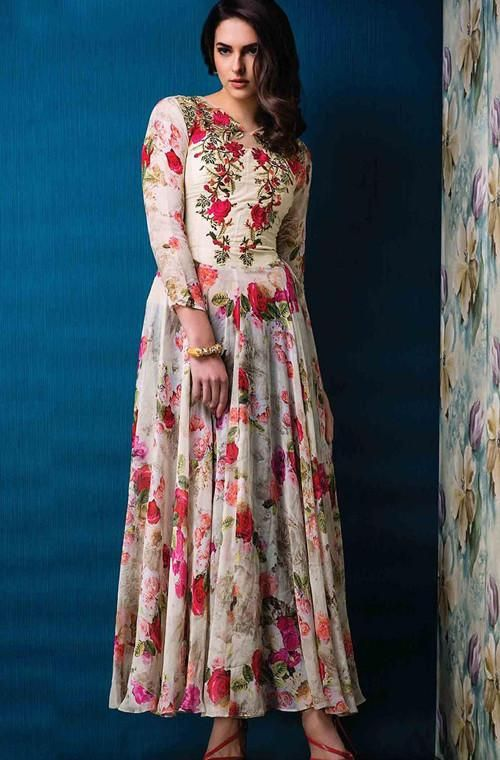 Long Floral Printed Salwar kameez style for women