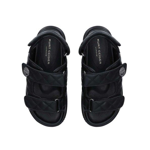 Kurt Geiger Orson Black Eagle Embellished Chunky Sandals