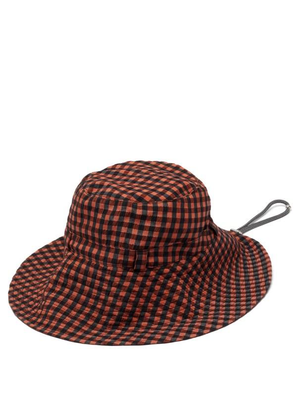 Logo-patch gingham-seersucker bucket hat ganni