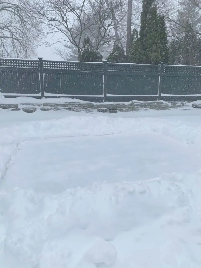 snow on ice rink