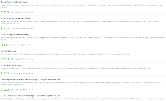 List of Respondent.io Studies