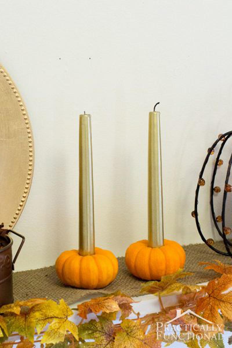 pumpkin candlestick holder