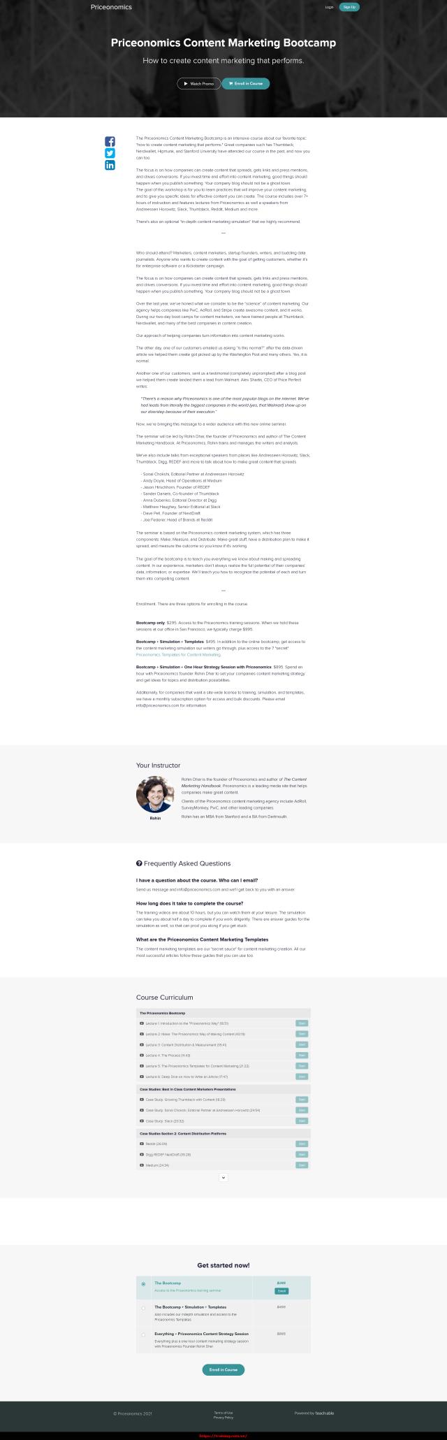 Priceonomics Content Marketing Bootcamp + Templates Sales page
