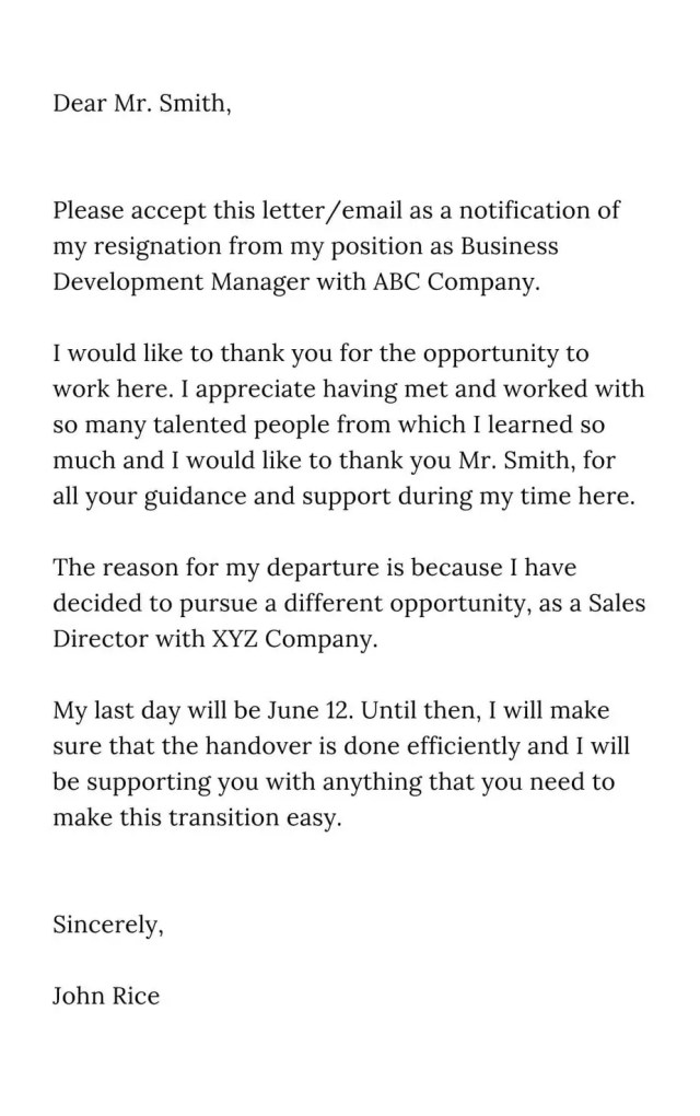 The Best Professional Resignation Letter Sample - FlexMyFinances.com