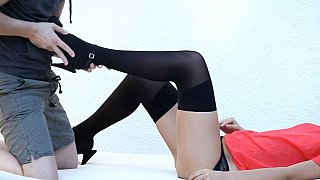 Cute teen Bianca in sexy lingerie gets licked and fucked image