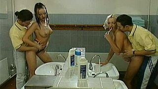 Image: Two teens get fucked in the bathroom by two guys