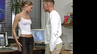 Hot German Russian teen in office sex action image