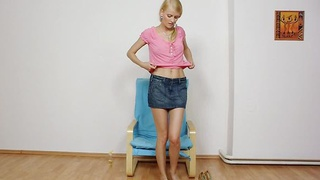 Image: Charming Kasia stuffs her twat plus red panty-hose