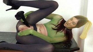 Good-looking body Kattie Gold wears_nylon mask image
