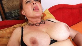Image: Amateur milf Lora with big natural tits and dildo