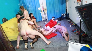Hot group sex at fancy-dress party image