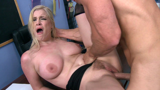 Image: Busty babe Danielle Delaunay gets her trimmed box slammed
