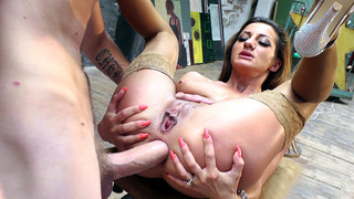 Alice Romain spreads her ass cheeks to get her anus drilled image
