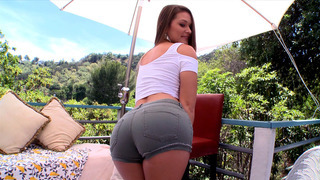 Abby Cross in a tight jeans shorts showing off her perfect ass image