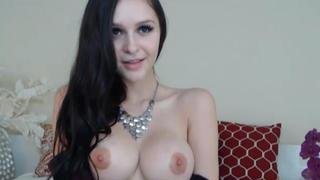 Hottest babe with huge perfect tits riding a dildo image