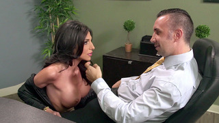 Busty secretary Jaclyn Taylor gets her throat fucked by her boss image
