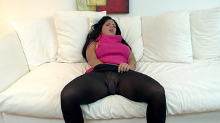 Missy Maze slides her_hand into her stockings and starts masturbating image