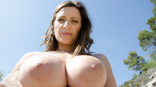 Image: Horny milf with big natural tits fucking outdoors