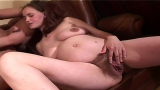 Busty pregnant whore is having some good time being fucked by her husband image