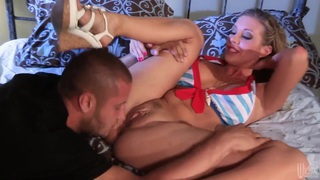 Young Samantha gets pleasured by a hot stud image