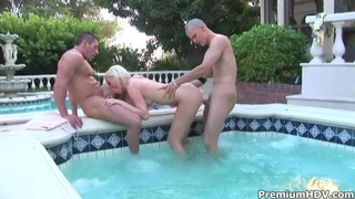 Image: Blonde Kelly Taylor takes on many cocks outdoor