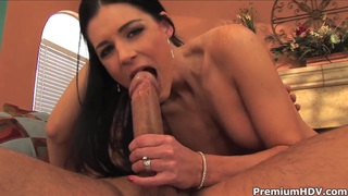 Image: Black haired milf India Summer rides on hard cock